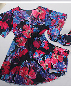 billige Bikinier og damemote-Dame Grunnleggende Med stropper Grønn Rød forms Boy Leg Bikini Badetøy - Blomstret Trykt mønster XL XXL XXXL / Sexy