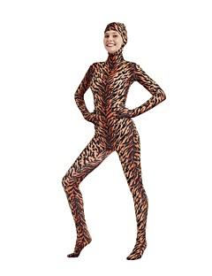 billige Zentai-mønstret Zentai Drakter Cosplay Kostumer Zentai Cosplay-kostymer Brun Dyremønster Spandex Lykra Elastisk Unisex Halloween Karneval Maskerade / Høy Elastisitet