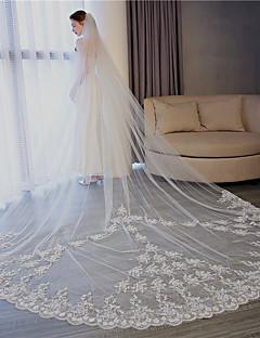 billiga Brudslöjor-Ett lager Blomstil / Mesh / Konvertibel klänning Brudslöjor Kapell Slöjor med Utspridda pärlbroderi blommotiv 118.11 in (300cm) Tyll / Ängelsnitt / Vattenfall