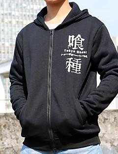 """billige Anime Kostymer-Inspirert av Tokyo Ghoul Ken Kaneki Anime  """"Cosplay-kostymer"""" Cosplay T-skjorte Trykt mønster Kortermet Frakk Til Herre / Dame"""