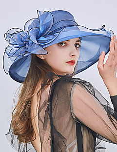 cheap Women's Hats-Women's Party / Holiday Lace Bucket Hat / Floppy Hat / Straw Hat - Patchwork Ruffle / All Seasons