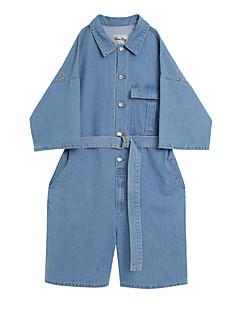 billige Jumpsuits og sparkebukser til damer-kvinner går ut bomullsbukser - solid farget skjorte krage