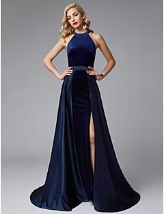 billiga Aftonklänningar-A-linje Prydd med juveler Svepsläp Satäng / Sammet Tvådelad Bal / Formell kväll Klänning med Delad framsida av TS Couture®