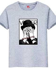 billige Plus Størrelser-Herre-Rund hals Herre - Portræt Plusstørrelser T-shirt / Kortærmet