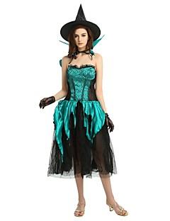 billige Voksenkostymer-Trollmann / heks Drakter Dame Halloween / Karneval / Barnas Dag Festival / høytid Halloween-kostymer Mørkegrønn Ensfarget / Halloween Halloween