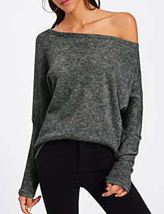 baratos Suéteres de Mulher-Mulheres Manga Longa Algodão Pulôver - Sólido Algodão / Ombro a Ombro