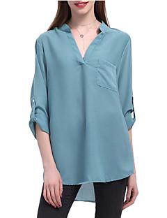 billige Kvinde Toppe-V-hals Dame - Ensfarvet Bluse