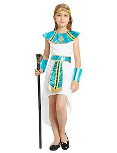 billige Halloweenkostymer-Farao Kostume Jente Barn Halloween Halloween Karneval Barnas Dag Festival / høytid Halloween-kostymer Drakter Hvit Ensfarget Halloween