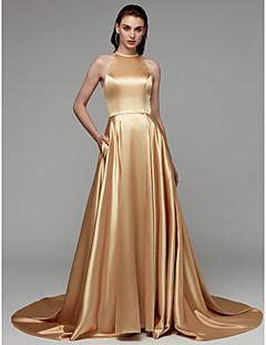 billiga Aftonklänningar-A-linje Halterneck Hovsläp Satäng Formell kväll Klänning med Delad framsida / Plisserat av TS Couture®