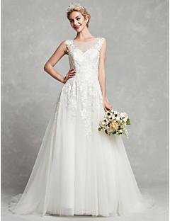 billiga Brudklänningar-A-linje Prydd med juveler Hovsläp Spets / Tyll Bröllopsklänningar tillverkade med Spets av LAN TING BRIDE®