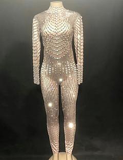 tanie Stroje taneczne do jazzu-Jazz Body Damskie Wydajność Spandeks Kryształy / kryształy górskie Długi rękaw Trykot opinający ciało / Śpiochy dla dorosłych