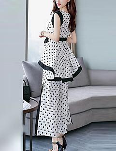 Χαμηλού Κόστους Γυναικεία Παντελόνια & Φούστες-Γυναικεία Μεγάλα Μεγέθη Δουλειά Κομψό στυλ street / Εκλεπτυσμένο Φαρδιά Μακρύ Σετ - Πουά, Φιόγκος / Σκίσιμο Παντελόνι / Καλοκαίρι