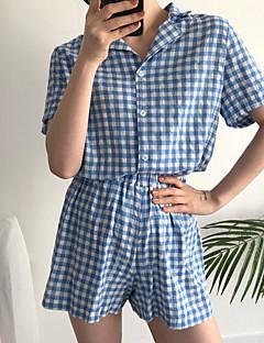 billige Moteundertøy-Dame Skjortekrage Dress Pyjamas - Ensfarget