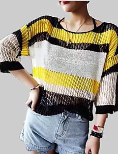 baratos Suéteres de Mulher-Mulheres Pulôver - Sólido / Listrado / Estampa Colorida, Com Transparência