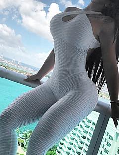 お買い得  スタイルでお買い物-女性用 スポーツ ベーシック ホルター ホワイト イエロー ワイドレッグ スリム ジャンプスーツ, ソリッド バックレス M L XL ノースリーブ / セクシー