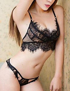 billige BH'er-Kvinner Sexy Sett med truse og BH Blonde-BH 1/2-kopp - Ensfarget