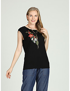 Χαμηλού Κόστους Γυναικείες Μπλούζες-Γυναικεία Αμάνικη Μπλούζα Βίντατζ / Κινεζικό στυλ Μονόχρωμο Κεντητό