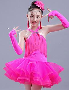 baratos Roupas de Dança Latina-Dança Latina Vestidos Para Meninas Espetáculo Elastano / Organza Franzido / Mocassim Sem Manga Vestido