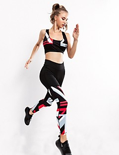 billiga Träning-, jogging- och yogakläder-Dam Yoga Byxor med topp sporter Klädesset Löpning, Fitness, Gym Ärmlös Sportkläder Snabb tork, Fitness, Professionell Microelastisk
