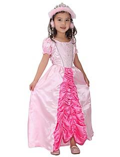 billige Halloweenkostymer-Prinsesse Drakter Jente Halloween / Karneval / Barnas Dag Festival / høytid Halloween-kostymer Rosa Ensfarget / Halloween Halloween