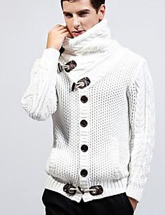 tanie Męskie swetry i swetry rozpinane-Męskie Codzienny Podstawowy Solidne kolory Długi rękaw Regularny Sweter rozpinany, Golf Biały / Czarny XL / XXL / XXXL
