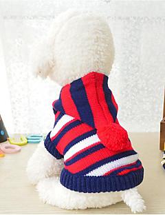 billiga Hundkläder-Hund / Katt Tröjor Hundkläder Randig / Färgblock Rand Akrylik Fiber Kostym För husdjur Herr / Dam Randig / Ledig / Sportig