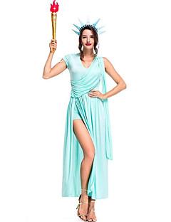 billige Halloweenkostymer-Gudinne Kjoler Cosplay Kostumer Kjoler Det gamle Egypt Halloween Karneval Festival / høytid Halloween-kostymer Drakter Blæk Blå Helfarge