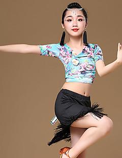 baratos Roupas de Dança Latina-Dança Latina Roupa Para Meninas Treino / Espetáculo Modal Estampa / Mocassim / Faixa Manga Curta Alto Saias / Blusa