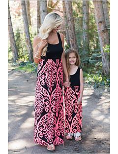 billige Sett med familieklær-Barn / Baby Mamma og meg Blomstret / Fargeblokk Ermeløs Kjeledress og jumpsuit