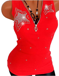 billige Kvinde Toppe-Dame - Ensfarvet Perler Basale T-shirt