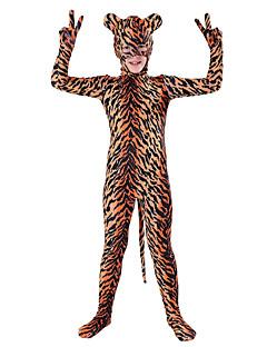 billige Zentai-mønstret Zentai Drakter Cosplay Kostumer Dyremønster Zentai Cosplay-kostymer Brun Dyremønster Spandex Lykra Elastisk Unisex Halloween Karneval Barnas Dag / Høy Elastisitet