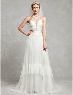 billiga Brudklänningar-A-linje Halterneck Hovsläp Spets / Tyll Bröllopsklänningar tillverkade med Spets av LAN TING BRIDE®