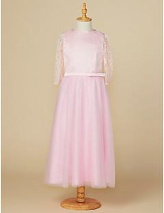 Χαμηλού Κόστους Φορέματα για παρανυφάκια-Γραμμή Α Με Κόσμημα Κάτω από το γόνατο Δαντέλα / Τούλι Φόρεμα Νεαρών Παρανύμφων με Φιόγκος(οι) με LAN TING BRIDE® / Γαμήλιο Πάρτι