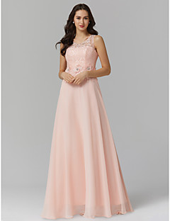 cheap Prom Dresses-Sheath / Column Illusion Neck Floor Length Chiffon / Corded Lace Keyhole Prom / Formal Evening Dress with Beading / Appliques by TS Couture®