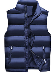 cheap Down Vest-Men's Daily Solid Colored Regular Padded, Cotton Sleeveless Winter Stand Blue / Black XXXL / 4XL / XXXXXL