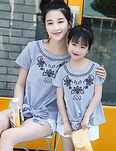 billige Sett med familieklær-Voksen / Barn Mamma og meg Stripet Kortermet Skjorte
