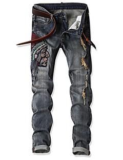 billige Herrebukser og -shorts-Herre overdrevet Jeans Bukser Stripet