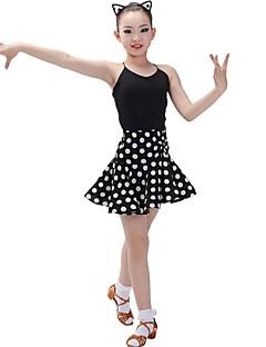 tanie Dziecięca odzież do tańca-Taniec latynoamerykański Stroje Dla dziewczynek Szkolenie Chinlon Materiały łączone Bez rękawów Naturalny Spódnice / Trykot opinający ciało / Śpiochy dla dorosłych
