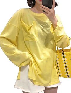 baratos Moletons com Capuz e Sem Capuz Femininos-camisola de mangas compridas para senhora - gola redonda de cor sólida