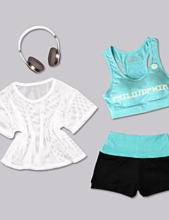 billiga Träning-, jogging- och yogakläder-Dam Rund hals Brottarrygg / Genomskinlig Yoga Suit - Blå / Vit, Vit+Röd, Blå och Svart sporter Färgblock Yoga, Fitness Långärmad Sportkläder Lättvikt, Andningsfunktion, Snabb tork Elastisk Skinny