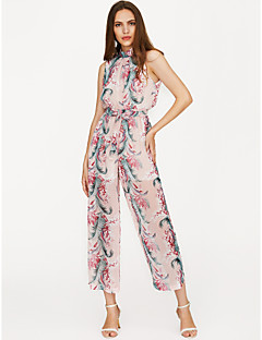 billige Jumpsuits og sparkebukser til damer-Dame Arbeid Sparkedrakter - Blomstret Crew-hals