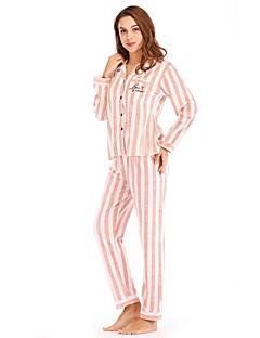 preiswerte Designerkollektionen-Damen Tiefes V Anzüge Pyjamas Gestreift