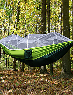 cheap Weekly Deal-Camping Hammock with Mosquito Net Outdoor Ultra Light, Portable, Moistureproof, Well-ventilated with Carabiners and Tree Straps Spinning Cotton for 2 person Camping / Hiking / Fishing - Army Green
