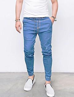 billige Herrebukser og -shorts-Herre Bomull / Lin Jeans Bukser Ensfarget