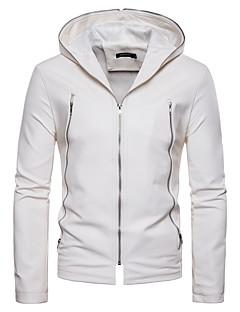 Χαμηλού Κόστους Men's Leather Jackets-Ανδρικά Καθημερινά Βασικό Φθινόπωρο / Χειμώνας Κανονικό Jeci Piele, Μονόχρωμο Λαιμόκοψη V / Με Κουκούλα Αμάνικο / Μακρυμάνικο PU Λευκό / Μαύρο L / XL / XXL