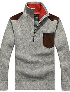 tanie Męskie swetry i swetry rozpinane-Męskie Sweter rozpinany Solidne kolory Długi rękaw