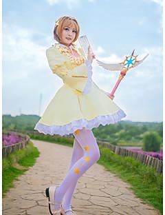 """billige Anime cosplay-Inspirert av Cardcaptor Sakura Kinomoto Sakura Anime  """"Cosplay-kostymer"""" Cosplay Klær Stjerner Halsklut / Skjørt / Sokker Til Dame Halloween-kostymer / Chiffon"""