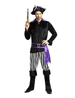 billige Halloweenkostymer-Pirates of the Caribbean Drakter / Party-kostyme / Kostume Herre Halloween / Karneval / Barnas Dag Festival / høytid Halloween-kostymer Svart Ensfarget / Stripet / Halloween Fest / aften / Halloween