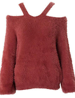 tanie Swetry damskie-Damskie Wyjściowe Ramiączka Pulower Jendolity kolor Długi rękaw