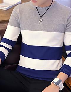 tanie Męskie swetry i swetry rozpinane-Męskie Okrągły dekolt Pulower Prążki Długi rękaw